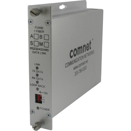 COMNET RS-232/RS-422/RS-485 Single Mode 1550/1310nm Data Transceiver (Rack-Mountable, Up to 43 mi)