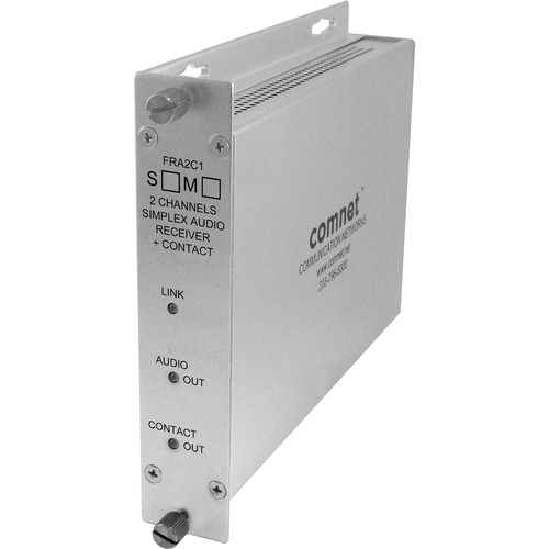 COMNET 2-Channel Single Mode 1310nm Audio Receiver with Contact Closure (Up to 30 mi)