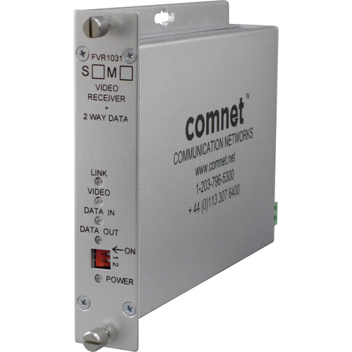 COMNET Video Receiver/Data Transceiver with 10-Bit Digital Video & Single Mode Bi-Directional Data (Up to 43 mi)