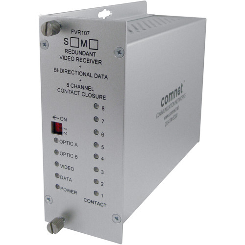 COMNET 10-Bit Digital Single-Mode Video Receiver/Data Transceiver with 1 Bi-Directional Data Channel/Dual Optical Port Redundant Point-to-Point Configuration + 8 Contact Closures