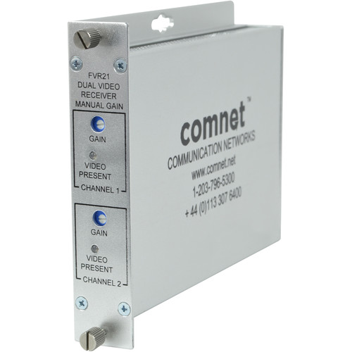COMNET Multimode 850nm Dual AM Video Receiver with Manual Gain Control (Up to 2.5 mi)