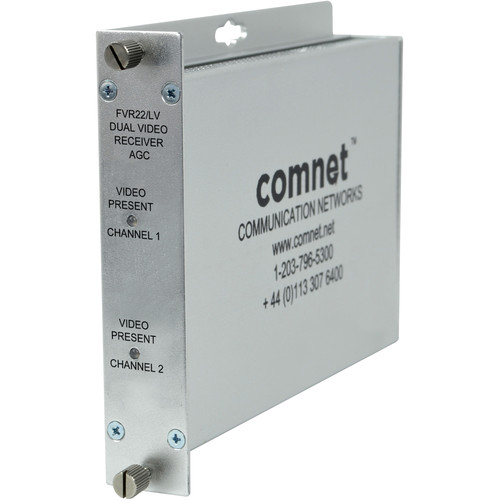 COMNET Multimode 850nm Dual Independent AM Video Receiver with Automatic Gain Control (Up to 2.5 mi)