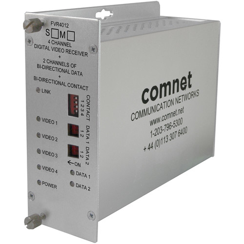 COMNET 4 Video / 2 Bi-directional Data / 1 Contact Closure Single Mode Receiver (Up to 43 mi)