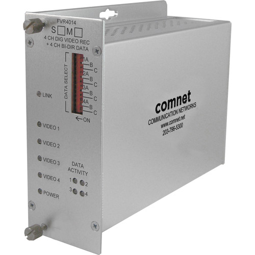 COMNET Single Mode 1550/1310nm 4-Channel 10-Bit Digital Video Receiver/4-Channel Bi-Directional Data Transceiver (Up to 43 mi)