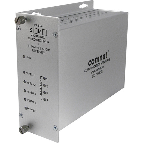 COMNET 4-Channel Single Mode 1310/1550nm Video/Audio Receiver with 10-Bit Digitally Encoded Video + 4-Channel 24-Bit Digitally Encoded Audio Multiplexer (Up to 30 mi)