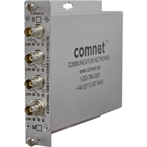 COMNET 4-Channel ComFit Video/Contact Multimode Fiber Receiver (Up to 2.5 mi)