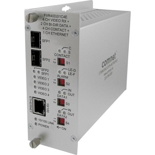 COMNET 4-Channel 10-Bit Digital Video Receiver with Two Bi-Directional Data, SFP Ports, 100Mb Ethernet, and Aiphone Intercom