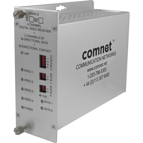 COMNET Single Mode 1550/1310nm 4-Channel Digitally Encoded Video Receiver/ 2-Channel Bi-directional Data Transceiver (Up to 43 mi)