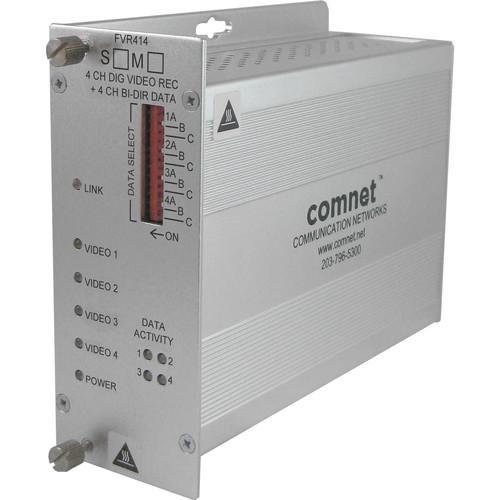 COMNET Single Mode 1550/1310nm 4-Channel Digital Video Receiver/4-Channel Bi-Directional Data Transceiver (Up to 43 mi)
