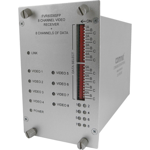 COMNET 8-Channel Video / 8-Channel Data Receiver with SFP Optical Devices (Up to 300')