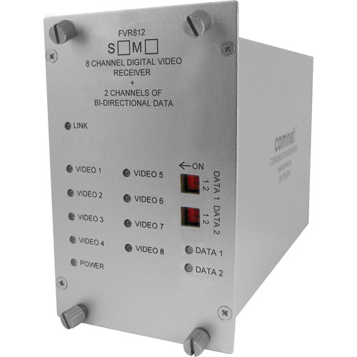 COMNET ValueLine Single Mode 1550/1310nm 8-Channel Digital Video Receiver/2-Channel Bi-Directional Data Transceiver with Contact Closure (Up to 30 mi)