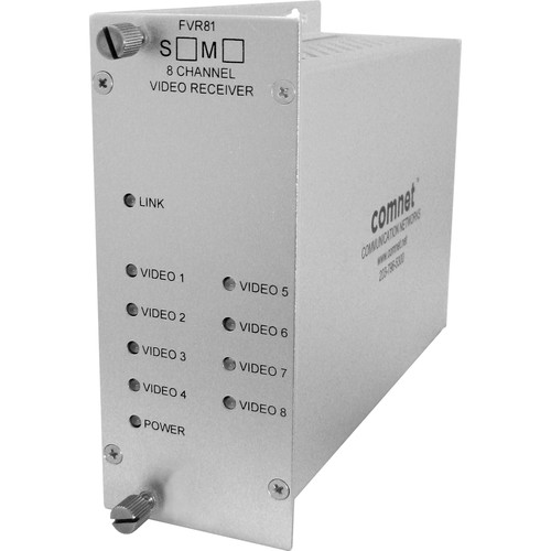 COMNET Multimode 1310nm 8-Channel Digitally Encoded Video Receiver (Conformally Coated Circuit Boards,Up to 1.2 mi)