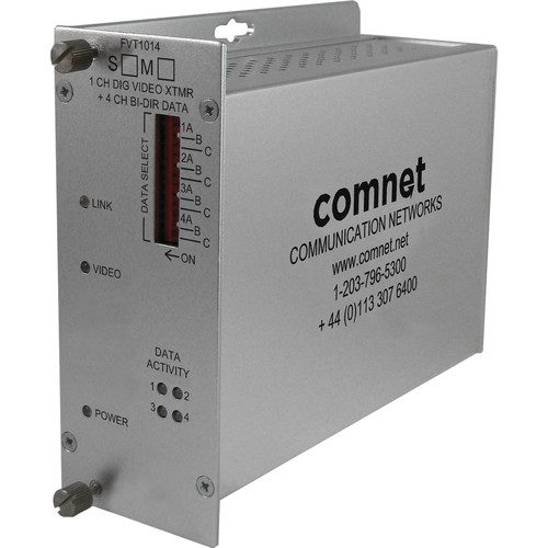 COMNET Single Mode 1310/1550nm Single-Channel Digital Video Transmitter/4-Channel Bi-Directional Data Transceiver (Up to 43 mi)