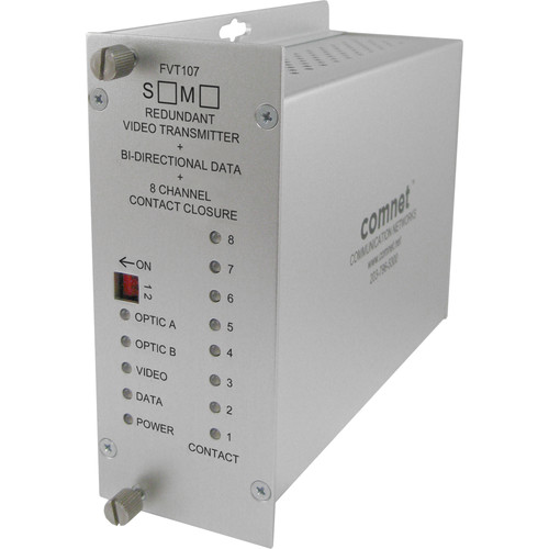 COMNET 10-Bit Single-Mode Digital Video Transmitter & 1 Bidirectional Data Channel with Dual Optical Ports + 8 Contact Closures