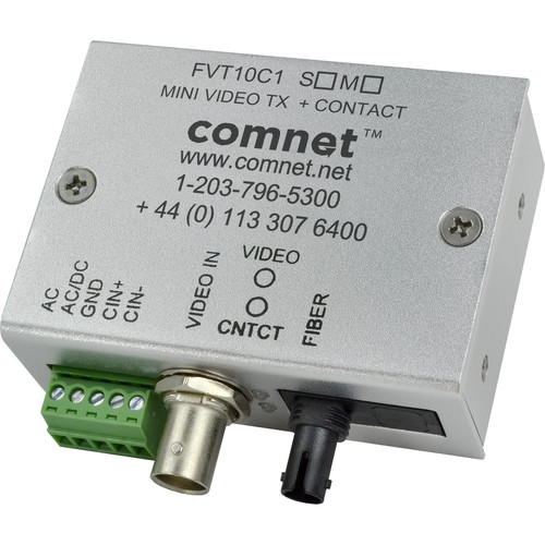 COMNET Mini Single Mode Video Transmitter with Contact Closure (Up to 33 mi)