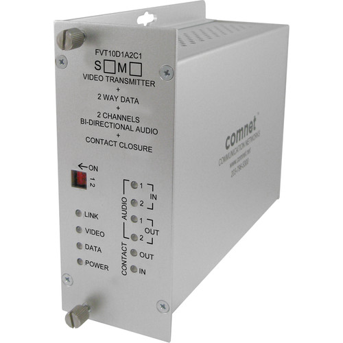 COMNET Single Mode 10-Bit Digital Video & 2-Channel Bi-Directional Audio Transmitter/Data Transceiver with Contact Closure (Up to 43 mi)