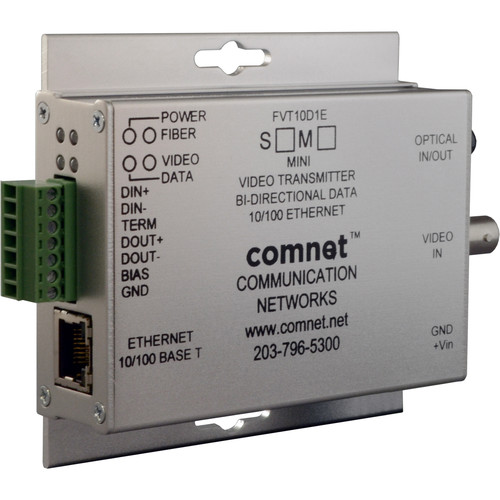 COMNET Mini Multimode 10-Bit Digital Video Transmitter/Bi-Directional Data Transceiver with 10/100Mbps Ethernet Port (Up to 2 mi)
