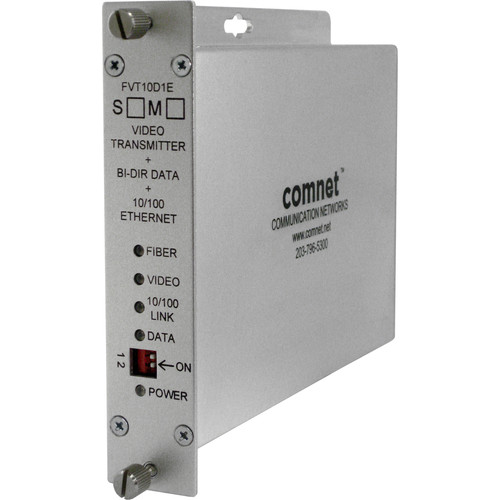COMNET Single Mode 10-Bit Digital Video Transmitter/Bi-Directional Data Transceiver with 10/100Mbps Ethernet Port (Up to 30 mi)