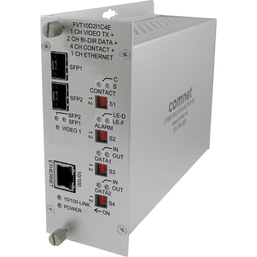COMNET 10-Bit Digitally Encoded Video & 2 Bi-Directional Data & Aiphone Intercom 100Mbps Transmitter Unit with Dual SPF Ports