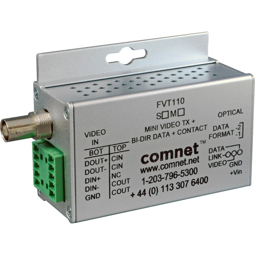 COMNET Mini Single Mode 10-Bit Digitally Encoded Video Transmitter/Bi-Directional Data Transceiver (Up to 30 mi)
