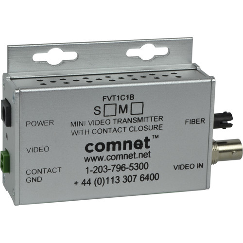 COMNET Multimode 1310nm 8-Bit Digitally Encoded Mini Video Transmitter with Contact Closure (Up to 2.5 mi)