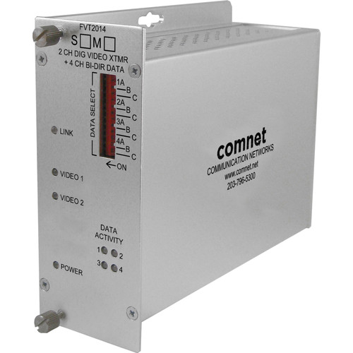 COMNET Single Mode 1310/1550nm 2-Channel 10-Bit Video Transmitter/4-Channel Bi-Directional Data Transceiver (Up to 43 mi)