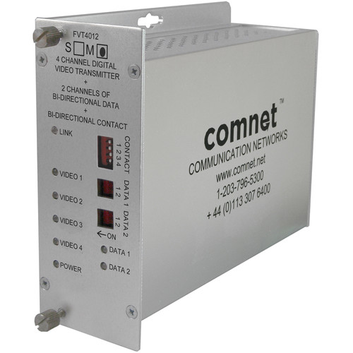 COMNET FVT4012M1 4-Channel Digital Video / 2 Bi-Directional Data / 1 Bi-Directional Contact Closure Transmitter for FVR4012M1 Receiver
