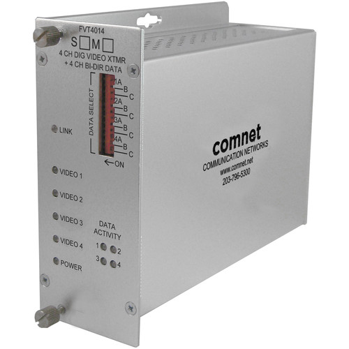 COMNET Single Mode 1310/1550nm 4-Channel 10-Bit Digital Video Transmitter/4-Channel Bi-Directional Data Transceiver (Up to 43 mi)