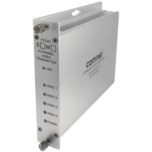COMNET FVT401M1 4-Channel 10-Bit Digitally Encoded Short-Haul Video Transmitter (Multimode, 1310nm)