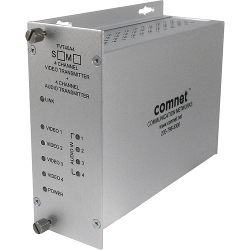 COMNET Single Mode 1310/1550nm 4-Channel 10-Bit Video/24-Bit Audio Transmitter (Up to 30 mi)