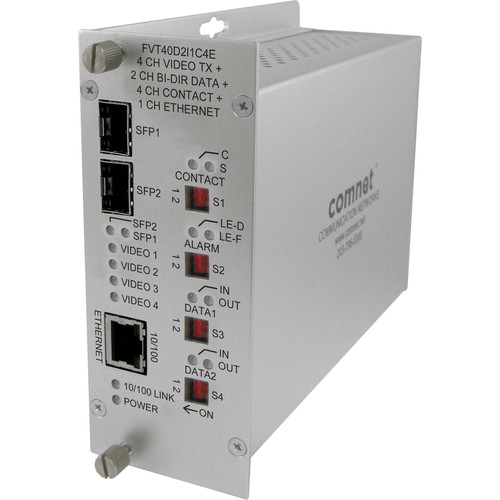 COMNET 4-Channel 10-Bit Digital Video Transmitter with Two Bi-Directional Data, SFP Ports, 100Mb Ethernet and Aiphone Intercom