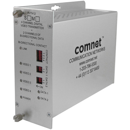 COMNET FVT412M1 4-Channel 10-Bit Digitally Encoded Video Transmitter with 2 Bi-Directional Data Channels and 1 Bi-Directional Contact Closure (Multimode, 1310nm)