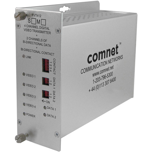 COMNET Single Mode 1310/1550nm 4-Channel Digitally Encoded Video Transmitter/2-Channel Bi-Directional Data Transceiver with Contact Closure (Up to 43 mi)