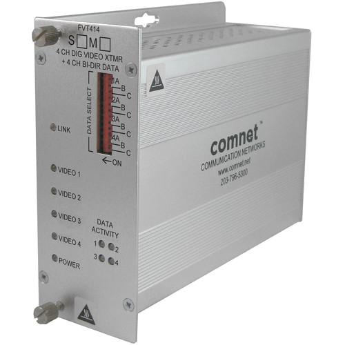 COMNET Multimode 1310/1550nm 4-Channel Digital Video Transmitter/4-Channel Bi-Directional Data Transceiver (Up to 1.2 mi)