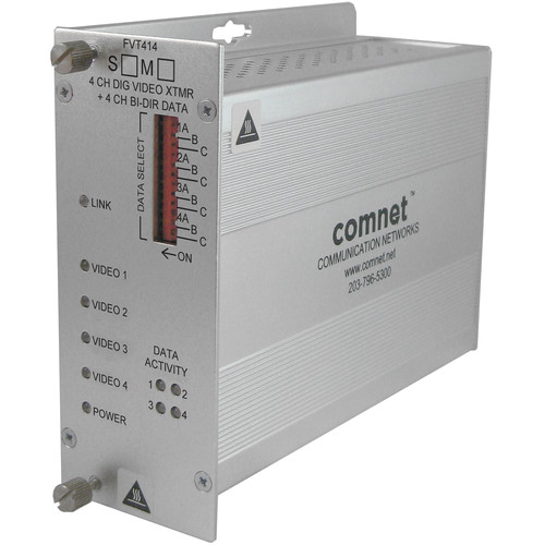 COMNET Multimode 1310/1550nm 4-Channel Digital Video Transmitter/4-Channel Bi-Directional Data Transceiver (Up to 1.2 mi)