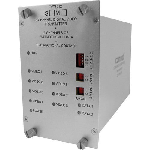 COMNET Single Mode 8-Channel 10-Bit Digital Video Transmitter with Two Bi-Directional Data, and Contact Closure (Up to 43 mi)