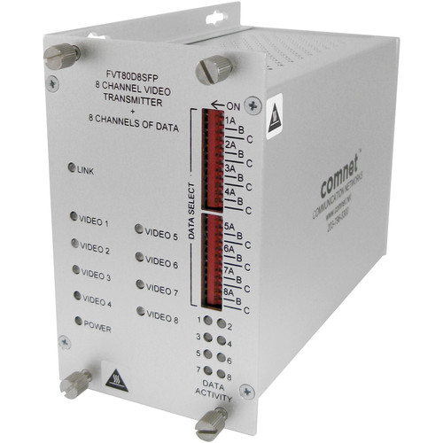 COMNET 8-Channel 10-Bit Video / 8-Channel Bi-Directional Data Transmitter with SFP Optical Devices