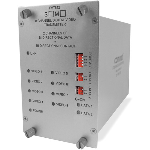 COMNET Single Mode 1310/1550nm 8-Channel Digitally Encoded Video Transmitter/2-Channel Bi-Directional Data Transceiver with Contact Closure (Up to 30 mi)