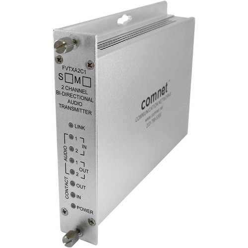 COMNET Single Mode 1310/1550nm 2-Channel Bi-Directional Audio Transmitter (Up to 30 mi)