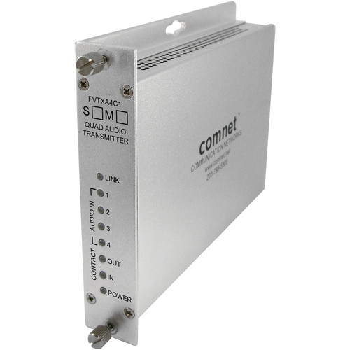 COMNET Single Mode 4-Channel 24-Bit Audio Transmitter with Contact Closure (Up to 30 mi)