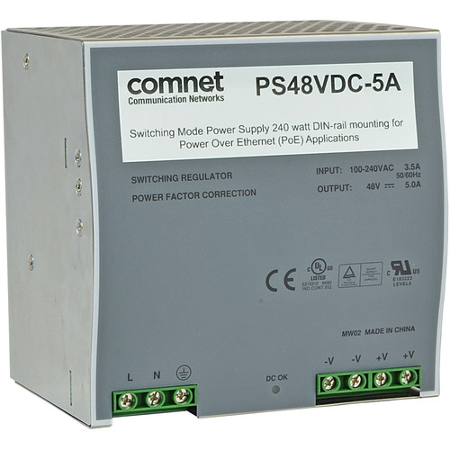 COMNET 240W Switching Mode Power Supply with DIN-Rail Mounting for PoE Applications