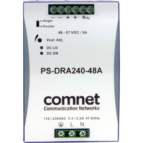 COMNET PS-DRA Series 48V Industrial DIN-Rail Mounted Power Supply (240W)