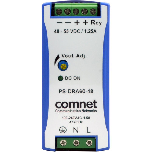 COMNET PS-DRA Series 48V Industrial DIN-Rail Mounted Power Supply (60W)