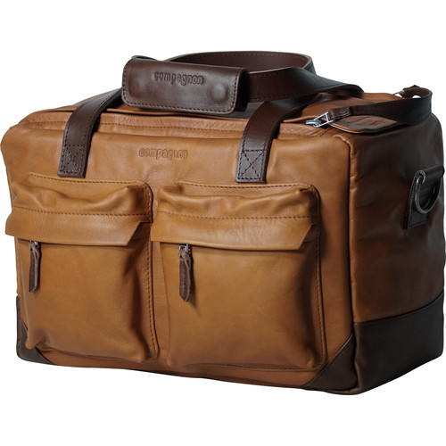 """compagnon """"The Little Weekender"""" Leather Bag (Light Brown / Dark Brown)"""