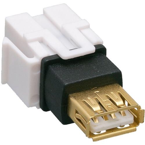 Comprehensive Keystone Jack Feedthrough Module USB 2.0 Type-A Female to USB Type-A Female Adapter