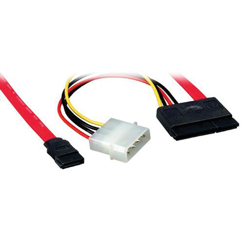 "Comprehensive 7-Pin SATA Female to Female Cable with 15-Pin Power Adapter (18"")"