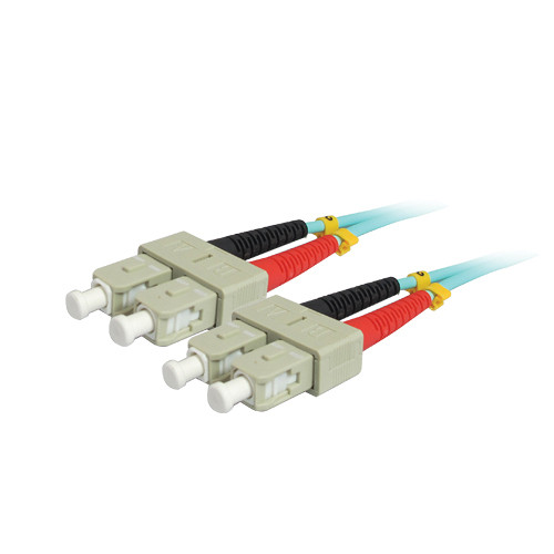 Comprehensive 10GB SC/SC Duplex 50/125 Multimode Fiber Patch Cable (Aqua, 22.9')