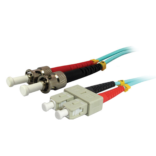Comprehensive 10GB SC/ST Duplex 50/125 Multimode Fiber Patch Cable (Aqua, 32.8')