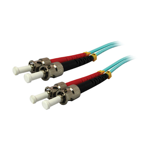Comprehensive 10GB ST/ST Duplex 50/125 Multimode Fiber Patch Cable (Aqua, 49.2')