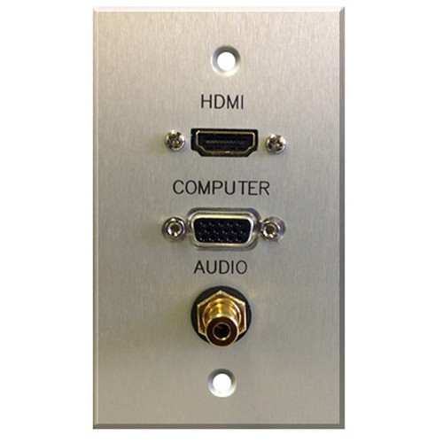 Comprehensive Single Gang Wallplate-HDMI Female pigtail, VGA Female, and 3.5mm Stereo Mini Female-passthru